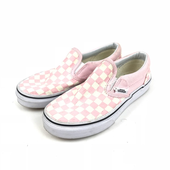 baf8759bb35 Vans Kids Pink Checkered Slip On Sneakers. M 5b9c7c38de6f6214cd30c6b3